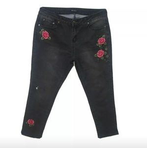 New Directions Black Denim Floral Embroidered